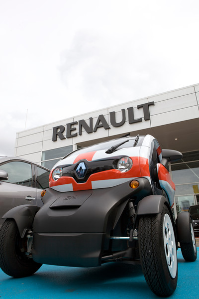 """An electric Renault Twizy at the Park Royal, London Renault car dealership on 13 August 2012.<br /> <br /> File No. 130812 0194<br /> ©RLLord <br /> sustainableguernsey@gmail.com<br /> <br /> <a href=""""http://www.sustainableguernsey.info/blog/"""">http://www.sustainableguernsey.info/blog/</a><br /> <br /> ."""