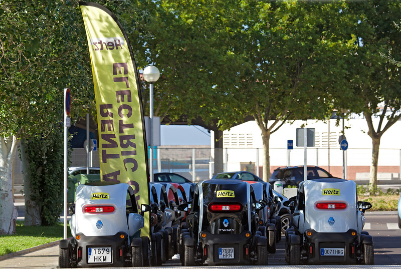 Renault Twizy electric car Hertz rent a car cruise ship passengers Palma Mallorca 010714 ©RLLord 3209 smg