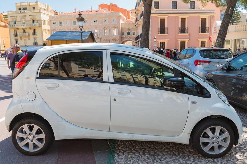 Peugeot iOn electric car in Place de Palais, Monte Carlo