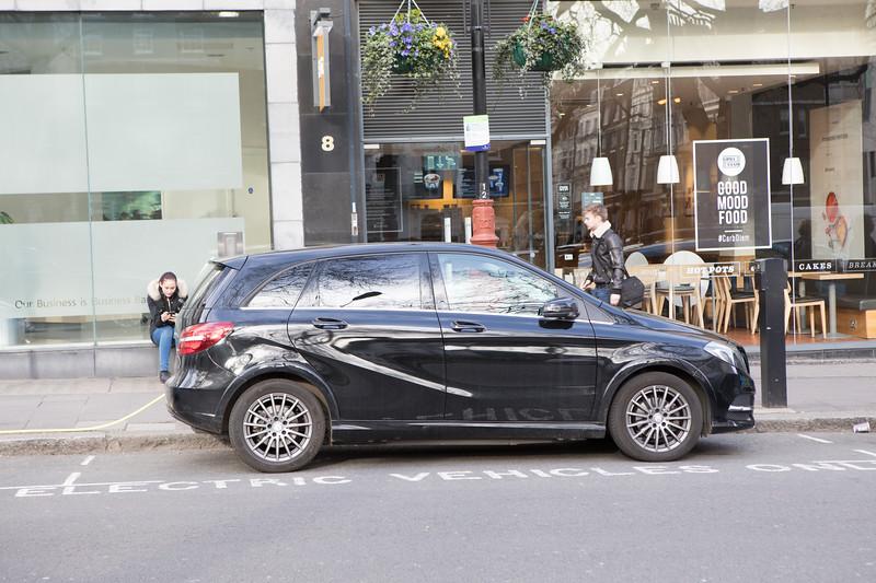 A Mercedes-Benz B250e charging in Berkeley Square, London