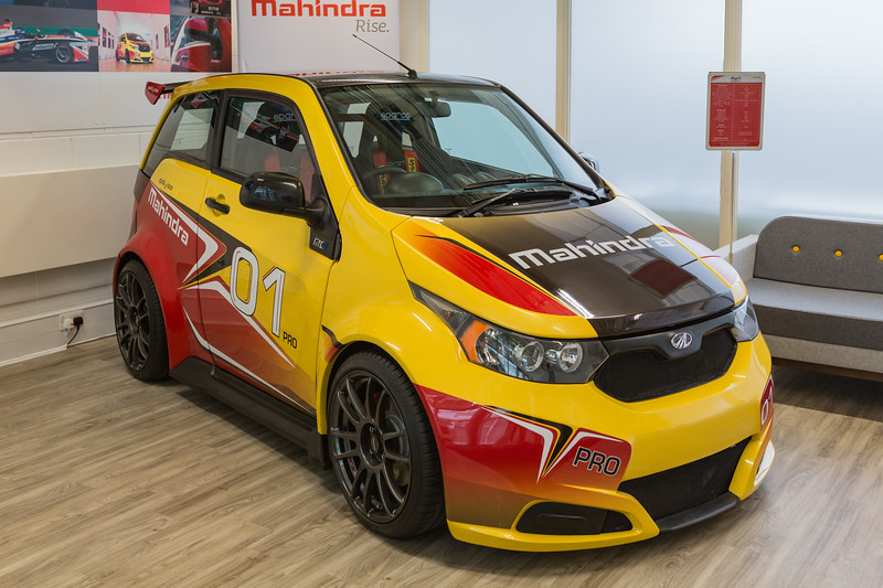 Mahindra e20 electric sports car at The Lightbox showroom in London