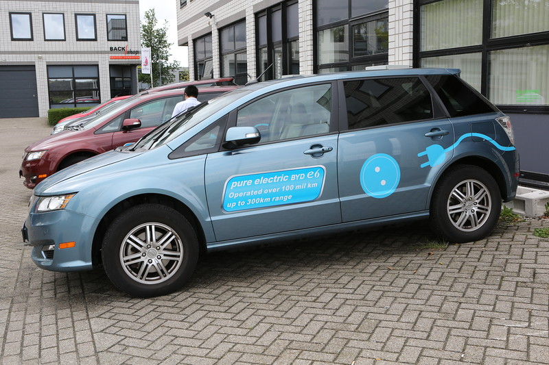 BYD E6 electric car in Rotterdam, Netherlands