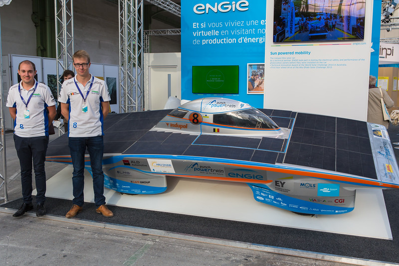 Punch Powertrain solar vehicle at Climate Solutions exhibition during COP21