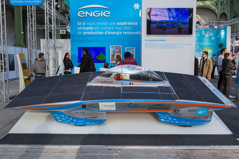 The Punch Powertrain solar vehicle on display at Climate Solutions in the Grand Palais in Paris during COP21