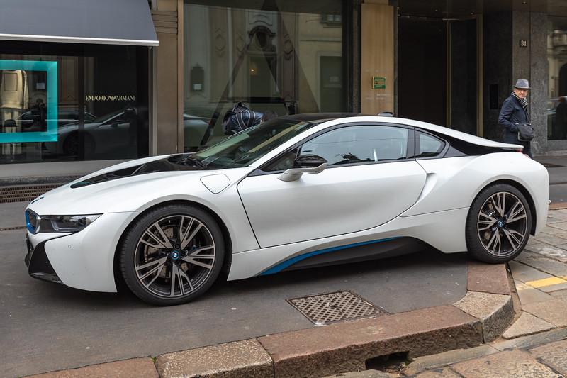 BMW i8 hybrid electric car outside Armani Hotel in Milan, Italy