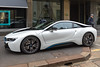 BMW i8 hybrid electric car outside Armani Hotel in Milan, Italy