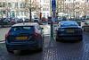 Volvo plug-in  hybrid Tesla electric car charging Amsterdam 060114 ©RLLord 7831 smg