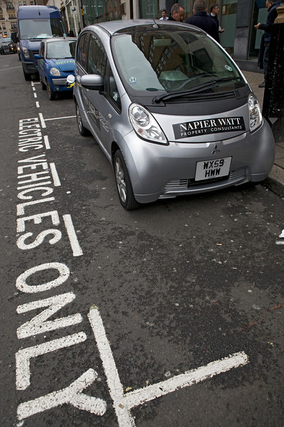 "An all-electric Mitsubishi Miev charging in Berkeley Square, London on 1 March 2013<br /> <br /> File No. 5596 010313<br /> ©RLLord<br /> <br /> <a href=""http://www.sustainableguernsey.info/blog/category/transport-travel/"">http://www.sustainableguernsey.info/blog/category/transport-travel/</a>"