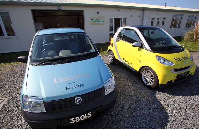 An electric Fiat Panda and an electric Smart Car converted by The Electric Vehicle Company in Guernsey
