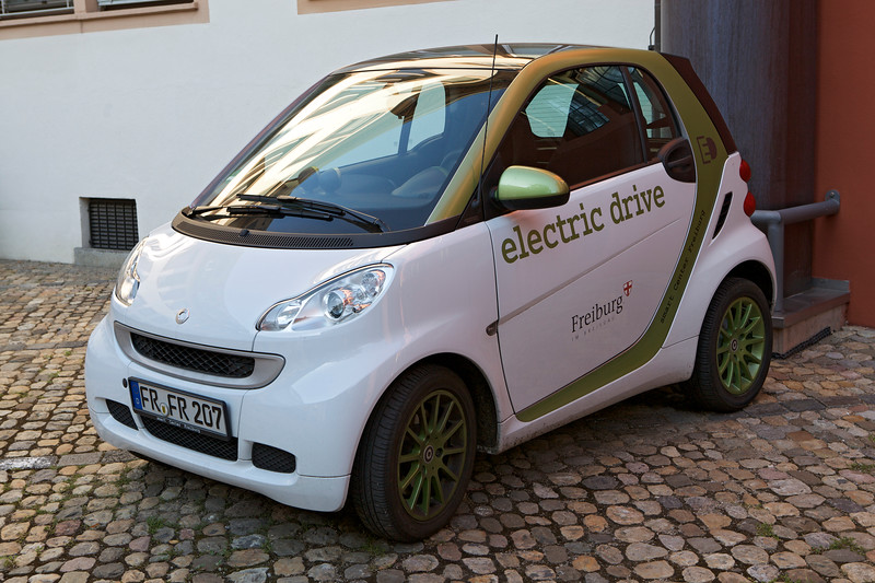 An electric Smart Car in the car park of the Freiburg Town Hall, Germany on 4 August 2013.<br /> <br /> File No. 040813 9065<br /> ©RLLord All Rights Reserved<br /> sustainableguernsey@gmail.com