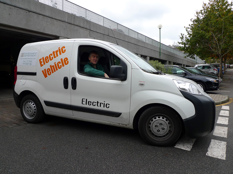 Andy McCutcheon driving the electric Citroen Nemo van converted by The Electric Vehicle Company