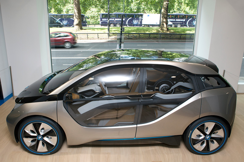 BMW i3 concept electric car at BMW's Park Lane showroom