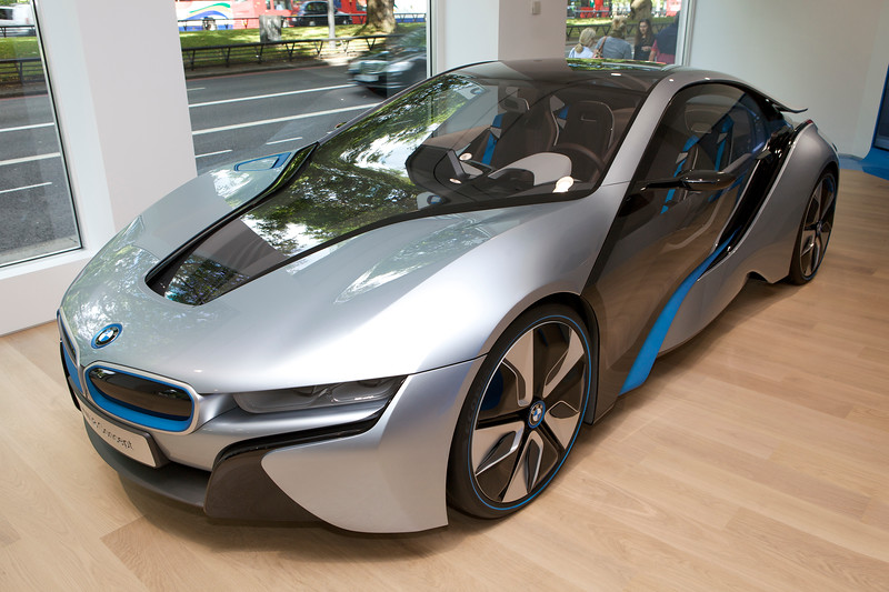 """The BMW i8 concept car at the BMW i Park Lane, London showroom on 6 August 2012.<br /> <br /> File No. 060812 8793<br />  ©RLLord<br /> <br /> sustainableguernsey@gmail.com<br /> <br /> <a href=""""http://www.sustainableguernsey.info/blog/"""">http://www.sustainableguernsey.info/blog/</a><br /> <br /> ."""