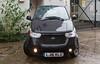 The narrow Mahindra e2o electric car with a very small turning radius
