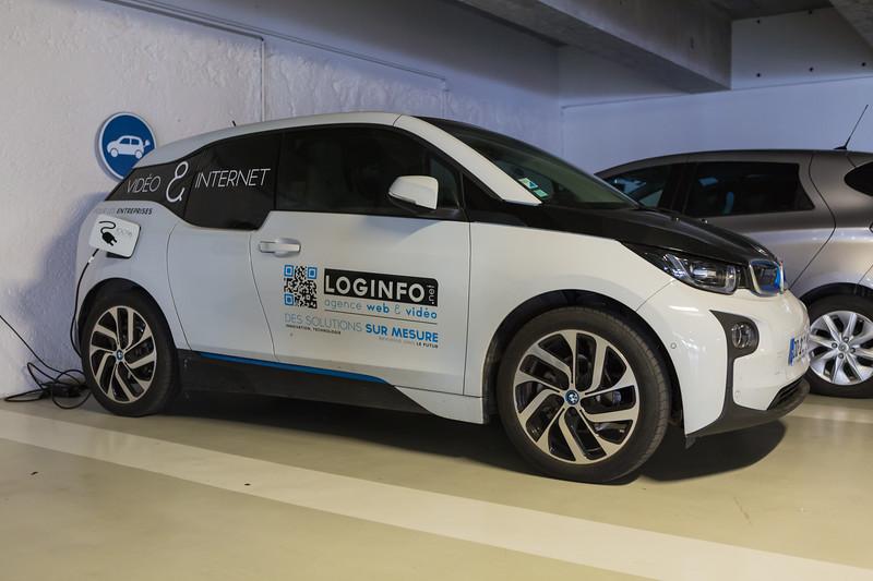 BMW i3 charging in an underground garage in La Rochelle, France