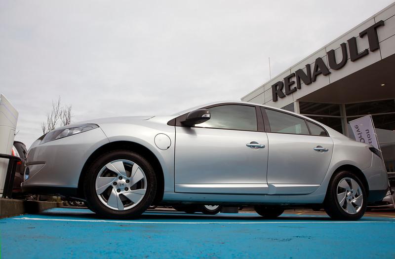 An electric Renault Fluence at Renault's Park Royal car dealership