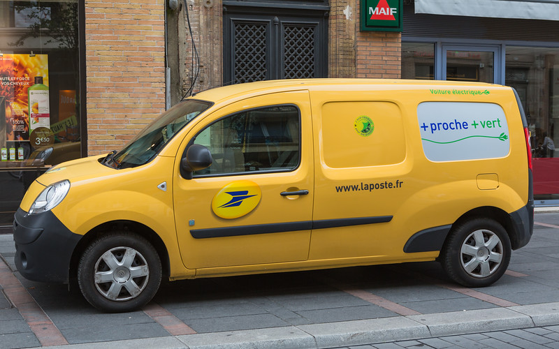 Electric Renault Kangoo French postal service delivery vehicle in Toulouse, France