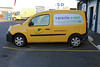 La Poste, the French postal service, at the Cherbourg, Normandy distribution hub, charging an electric motor powered Renault Kangoo van Z.E. (zero emission) on the evening of 9 April 2014. <br /> <br /> The French postal service ordered 10,000 electric vehicles from Renault in 2011.<br /> <br /> File No. 090414 0137<br /> ©RLLord All Rights Reserved<br /> sustainableguernsey@gmail.com