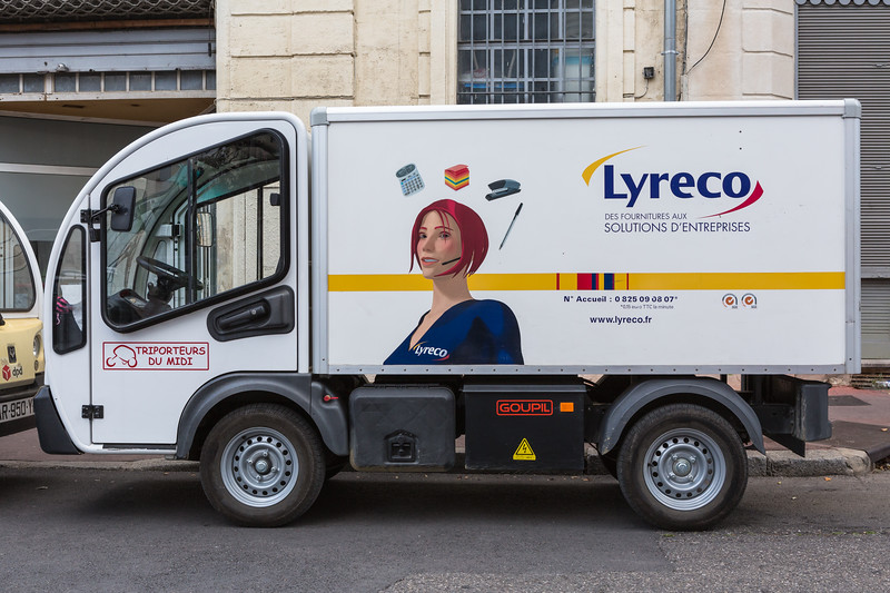 A Goupil electric utility vehicle used by Lyreco in Montpellier, France