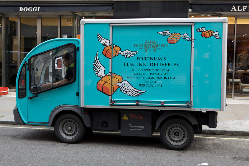 A Goupil Industrie electric utility vehicle used by Fortnum & Mason in Central London