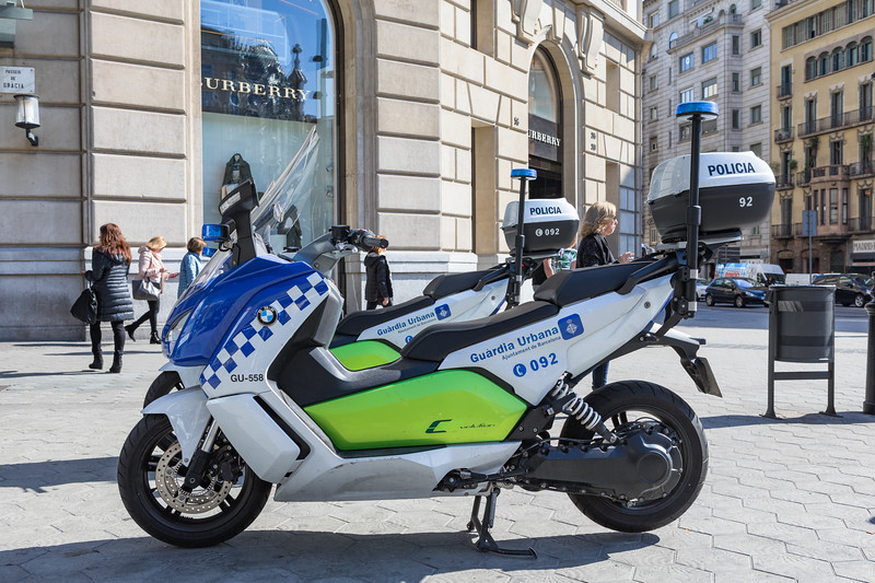 BMW C Evolution electric motorcycle used by Barcelona police