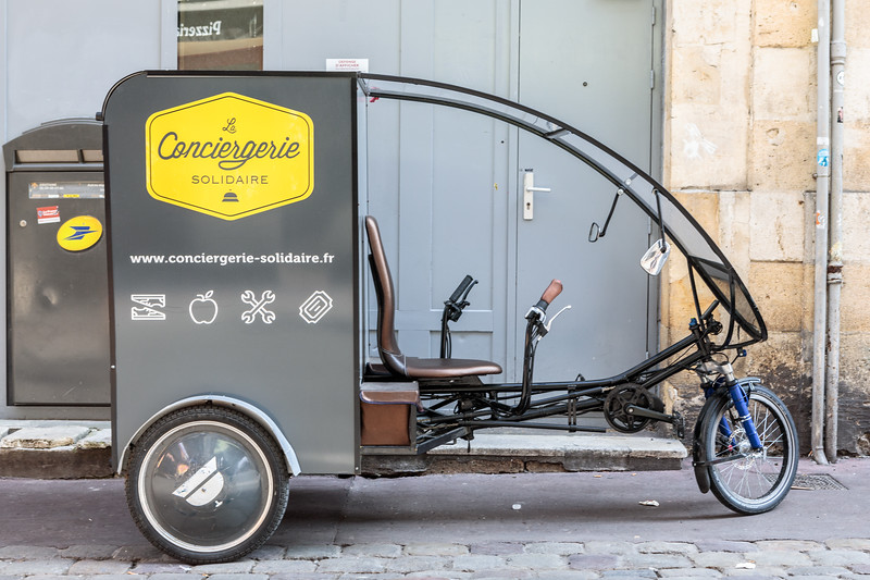 Conciergerie Solidaire electric tricycle in Bordeaux, France