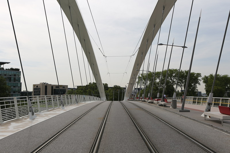 Tram lines on the Raymond Barre bridge which crosses the Rhône river