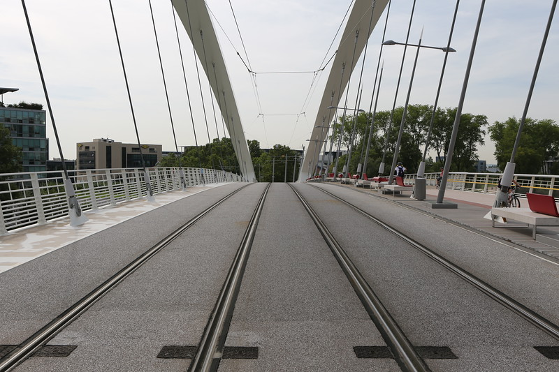 Trams lines on the Raymond Barre bridge across the Rhone in Lyon, France