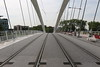Trams lines on the Raymond Barre bridge across the Rhone in Lyon, France