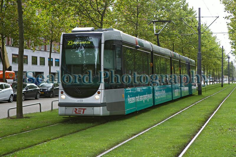 Rotterdam Electric Tram on grassed track