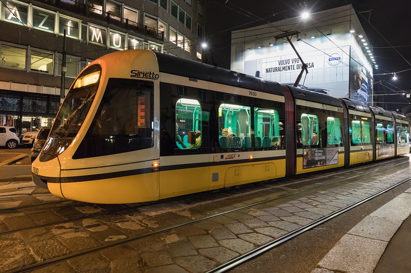 Ansaldobreda Sirietto tram operating in Milan, Italy