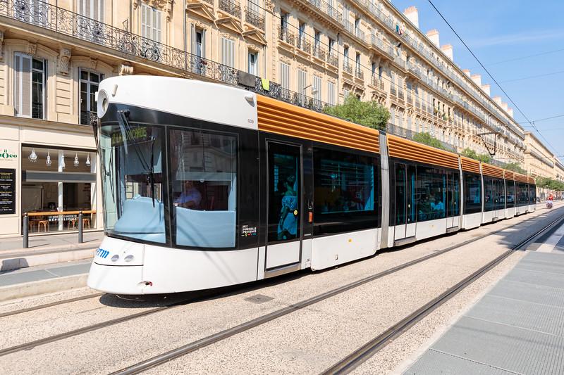 Bombardier Flexity Outlook tram on Rue de la Republique, Marseille, France