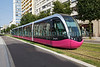 Divia  electric tram on grassed track in Dijon, France