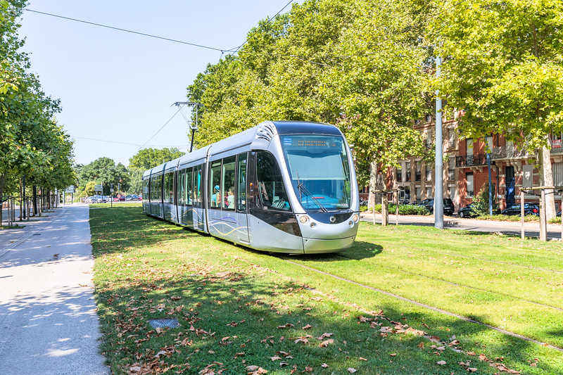 Electric tram on Allée Jules Guesde, Toulouse, France