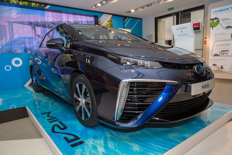 Toyota Mirai fuel cell car in Toyota's Champs Elysées showroom