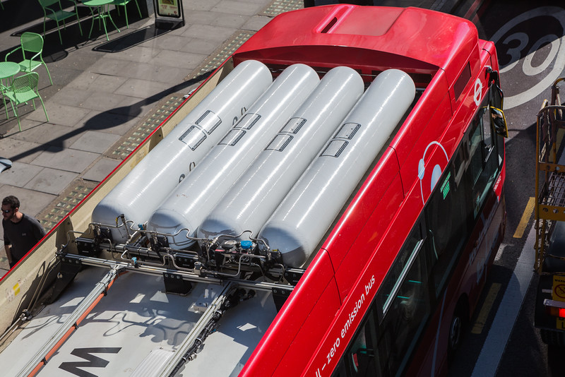 Hydrogen tanks on a zero emissions fuel cell powered bus near Waterloo Station, London