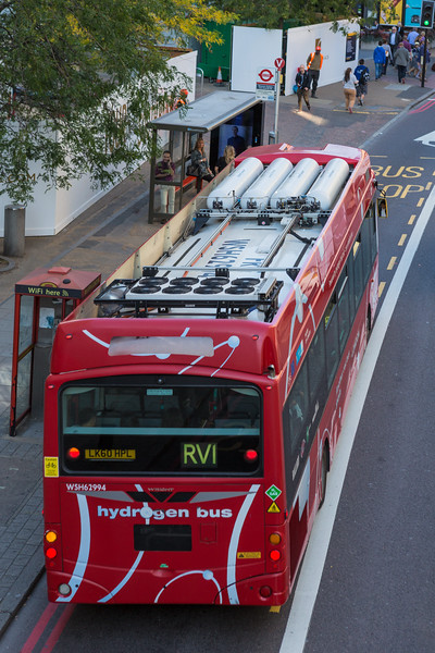 Hydrogen fuel cell powered bus on York Road, London