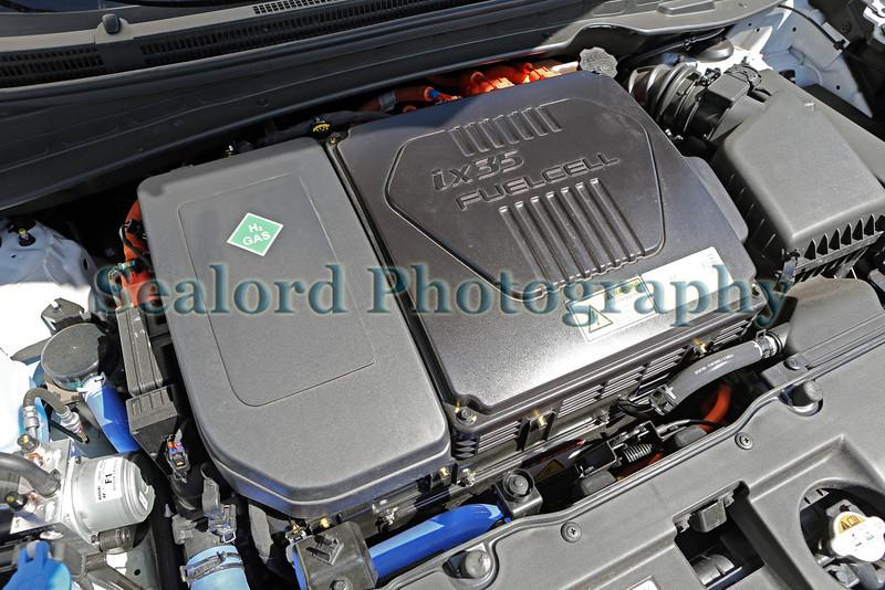 Under the hood of a Hyundai ix35 hydrogen fuel cell car