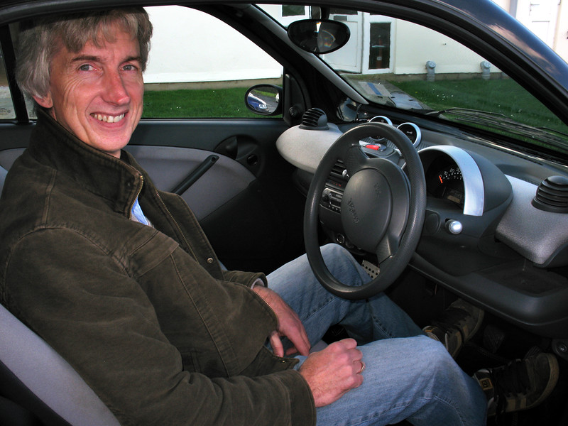 Engineer Mark Parr in his electric Smart Car on 18 October 2007