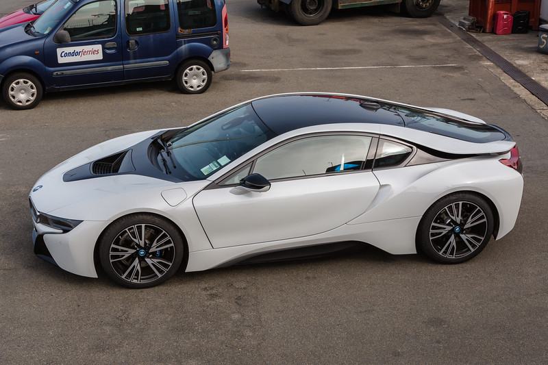 A BMW i8 in the St Peter Port harbour customs area