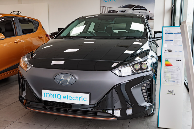 Electric Hyundai Ioniq at the Barras Car Centre in St Sampson, Guernsey