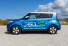 Kia Soul EV by Jaonneuse beach in the north of Guernsey