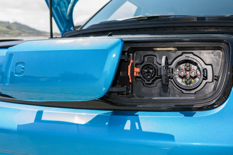 Kia Soul EV charging sockets on the front of the car