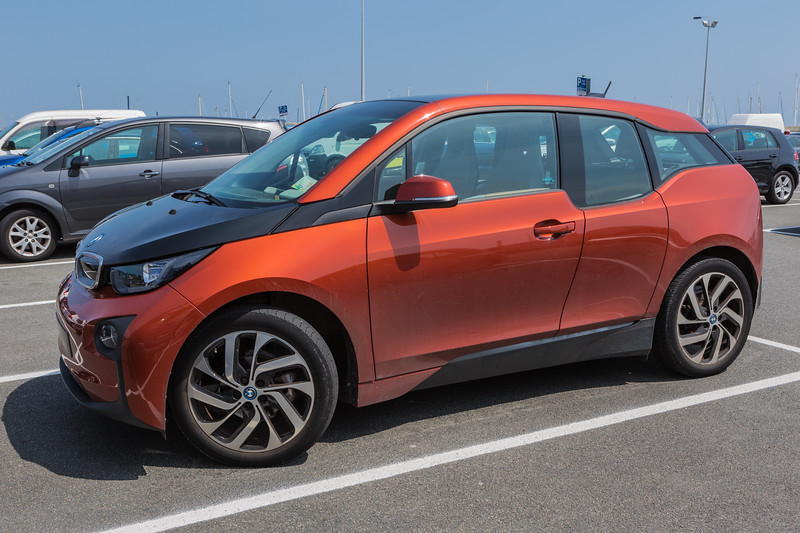 A BMW i3 electric car parked in North Beach car park in St Peter Port, Guernsey on 29th May 2016