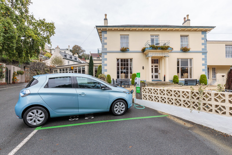 Renault Zoe charging at the EO EV charge station at Hotel de Havelet, St Peter Port, Guernsey