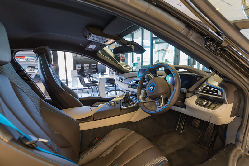 Interior of a BMW i8 electric hybrid car at the Motor Mall showroom