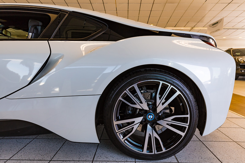 BMW i8 rear wheel at the Motor Mall showroom, Guernsey