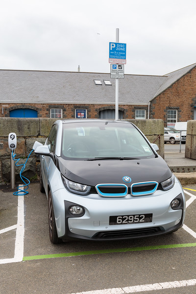 BMW i3 charging at North Beach car park, St Peter Port, Guernsey
