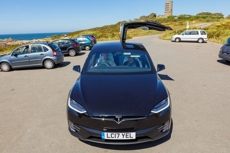 Tesla X 100 D at L'Eree headland in Guernsey