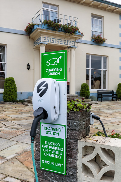 EO Charging station at Hotel de Havelet in St Peter Port, Guernsey